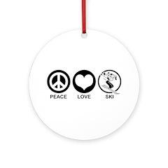 Peace Love Ski (female) Ornament (Round)