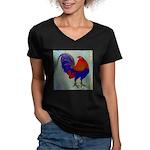 Impressionist Gamecock Women's V-Neck Dark T-Shirt