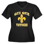 Who Dat French Plus Size V-Neck Dark T-Shirt