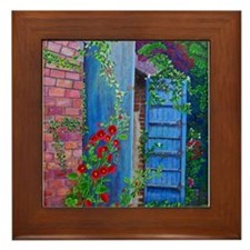 Framed Tile Red Hollyhocks and Blue doors