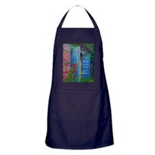 Apron (dark) Red Hollyhocks and Blue Doors