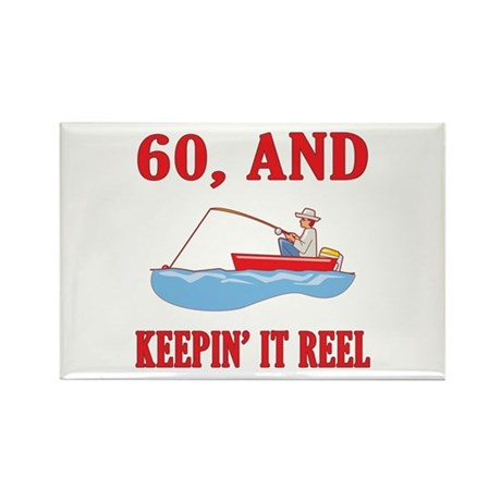 60 And Keepin' It Reel Rectangle Magnet (10 pack)