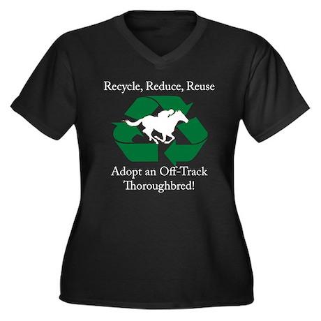 Adopt an OTTB Women's Plus Size V-Neck Dark T-Shir