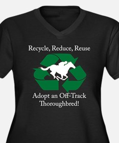 Adopt an OTTB Women's Plus Size V-Neck Dark T-Shir