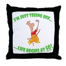 Teeing Off At 50 Throw Pillow