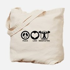 Peace Love Weightlifting Tote Bag