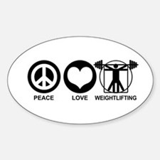 Peace Love Weightlifting Sticker (Oval)