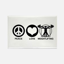 Peace Love Weightlifting Rectangle Magnet