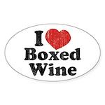 I Heart Boxed Wine Oval Sticker