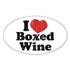 I Heart Boxed Wine Oval Decal