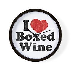 I Heart Boxed Wine Wall Clock