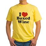 I Heart Boxed Wine Yellow T-Shirt
