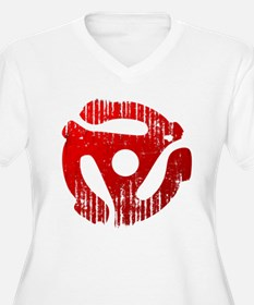 Distressed Red 45 RPM Adapter Plus Size T-Shirt