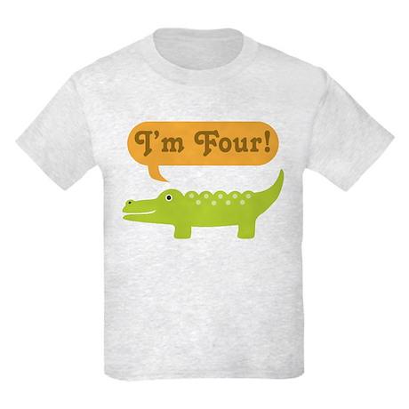 Alligator 4th Birthday Kids Light T-Shirt