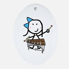 Girl & Pit Percussion Oval Ornament
