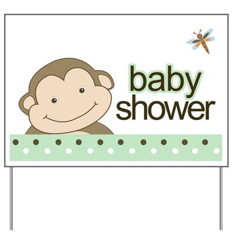 baby shower yard sign monkey green by artbyjessie