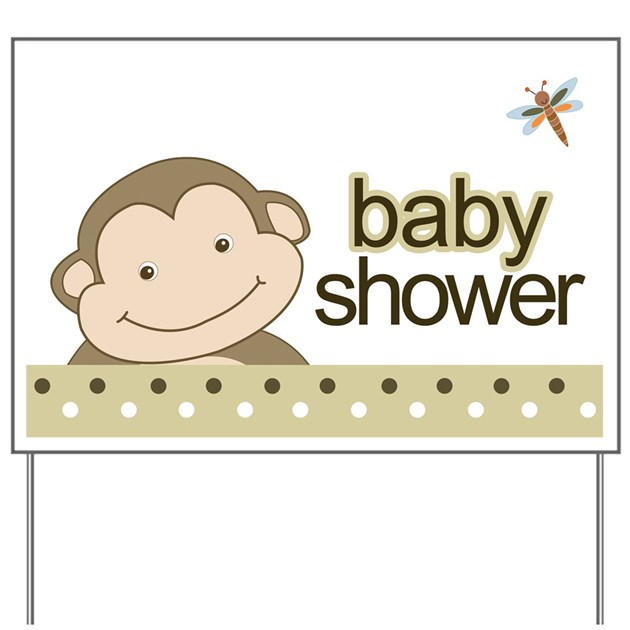Baby Shower Signs For Yard ~ Baby shower yard sign monkey brown by artbyjessie