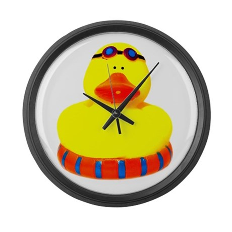 Rubber bather yellow duck Large Wall Clock