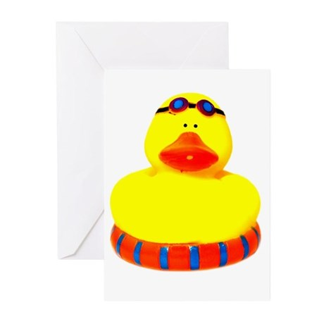 Rubber bather yellow duck Greeting Cards (Pk of 20