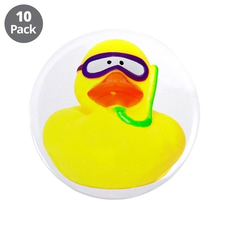 """Diving Rubber Duck 3.5"""" Button (10 pack)"""