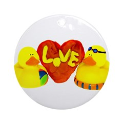 Lovely Valentine Duckies Ornament (Round)