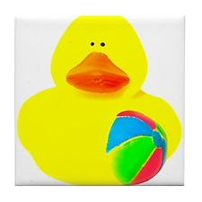 Ball Player Rubber Duck Tile Coaster