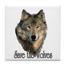 Save Wolves Tile Coaster