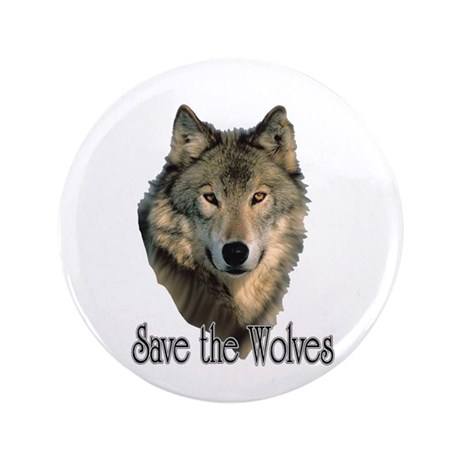 """Save Wolves 3.5"""" Button"""