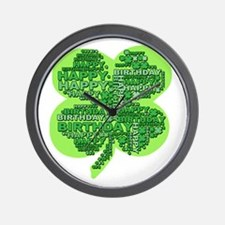 Giant Shamrock Happy Birthday Wall Clock