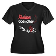 Rockstar Godmother Women's Plus Size V-Neck Dark T