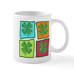 Folksy Pop Art Shamrocks Mug