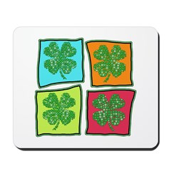 Folksy Pop Art Shamrocks Mousepad