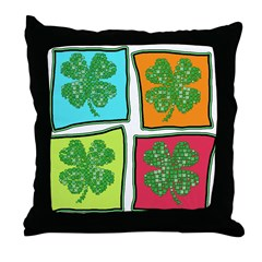 Folksy Pop Art Shamrocks Throw Pillow