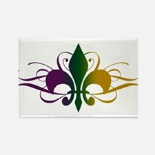Purple Green Yellow Swirl Fleur De Lis Rectangle M