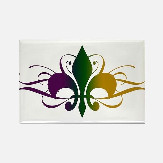 Purple Green Yellow Swirl Fleur De Lis Rectangle M