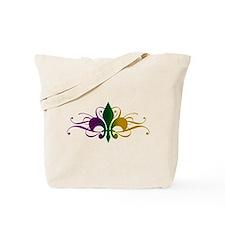 Purple Green Yellow Swirl Fleur De Lis Tote Bag