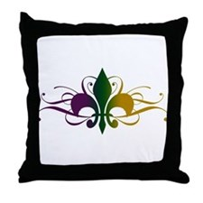 Purple Green Yellow Swirl Fleur De Lis Throw Pillo