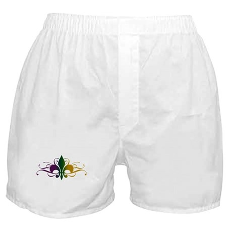 Purple Green Yellow Swirl Fleur De Lis Boxer Short