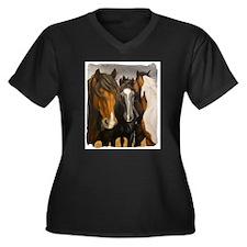Storms Brewin Women's Plus Size V-Neck Dark T-Shir