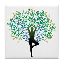YOGA TREE POSE Tile Coaster