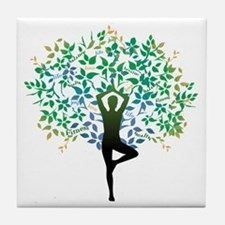 YOGA TREE POSE Tile Coaster