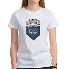 March Baby Announcement Kitty Tee