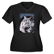 Cute White tiger Women's Plus Size V-Neck Dark T-Shirt