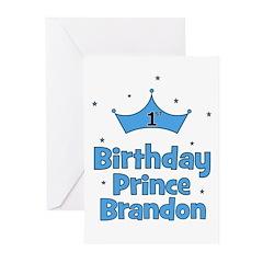 1st Birthday Prince BRANDON! Greeting Cards (Pk of