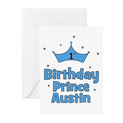 1st Birthday Prince AUSTIN! Greeting Cards (Pk of