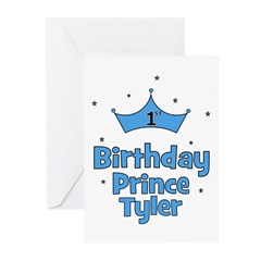 1st Birthday Prince TYLER! Greeting Cards (Pk of 2