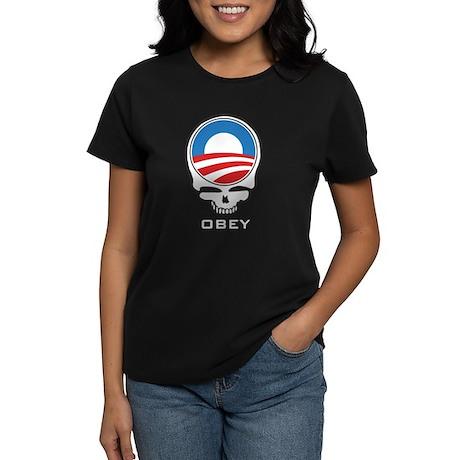 Obey Obama Skull Women's Dark T-Shirt