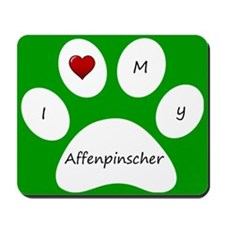 Green I Love My Affenpinscher Mouse Pad