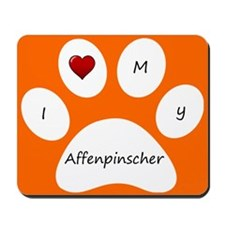 Orange I Love My Affenpinscher Mouse Pad