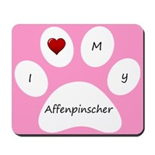 Pink I Love My Affenpinscher Mouse Pad